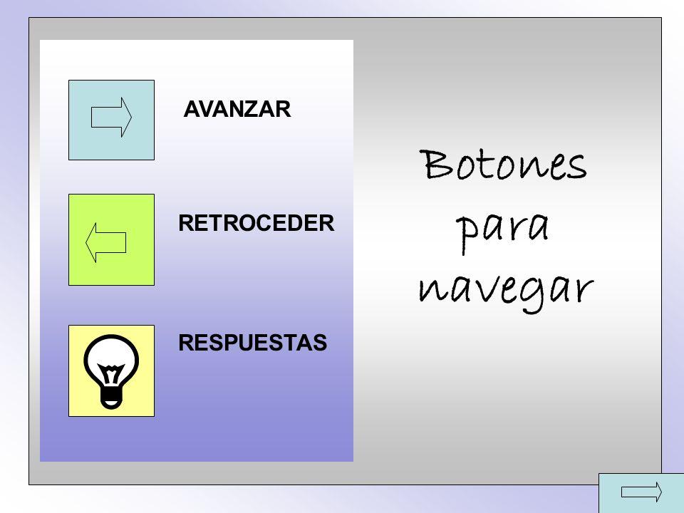 Botones para navegar AVANZAR RETROCEDER RESPUESTAS