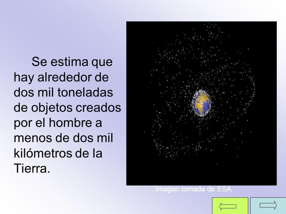Se estima que hay alrededor de dos mil toneladas de objetos creados por el hombre a menos de dos mil kilómetros de la Tierra. Imagen tomada de ESA