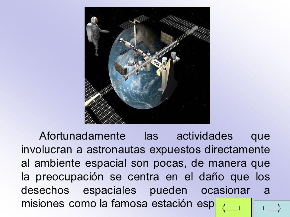 Afortunadamente las actividades que involucran a astronautas expuestos directamente al ambiente espacial son pocas, de manera que la preocupación se c