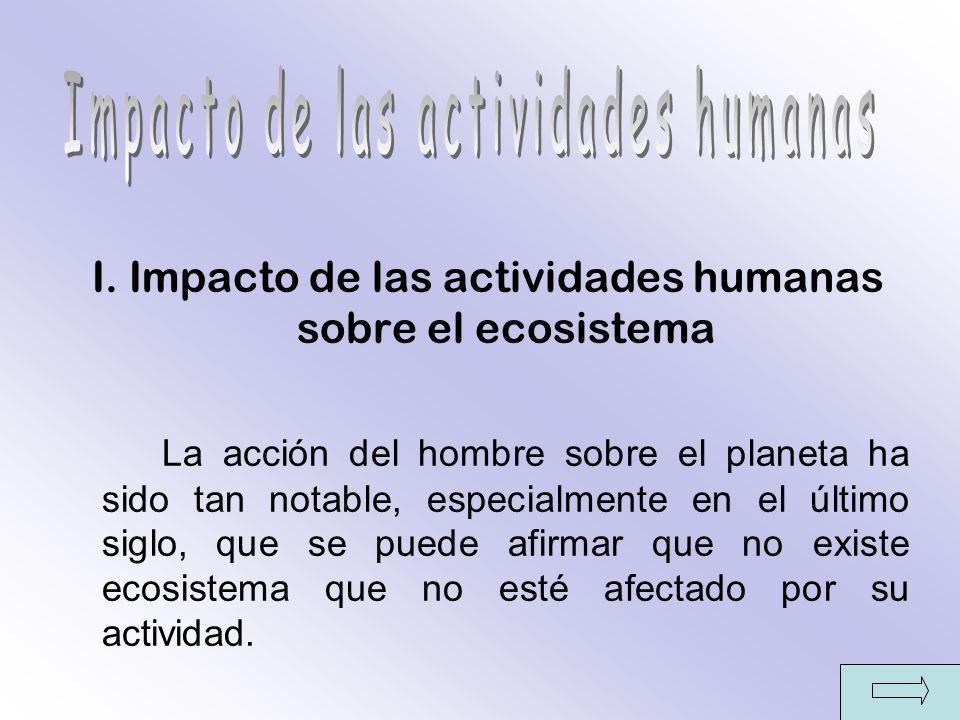 I. Impacto de las actividades humanas sobre el ecosistema La acción del hombre sobre el planeta ha sido tan notable, especialmente en el último siglo,