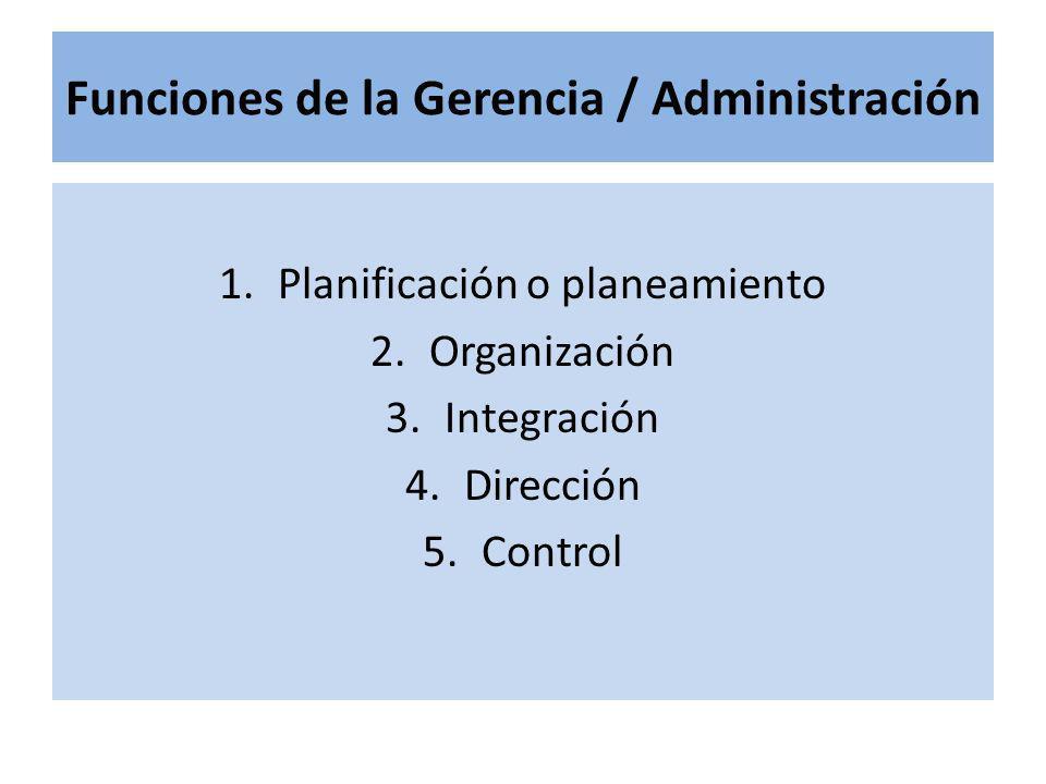 Funciones de la Gerencia / Administración 1.Planificación o planeamiento 2.Organización 3.Integración 4.Dirección 5.Control