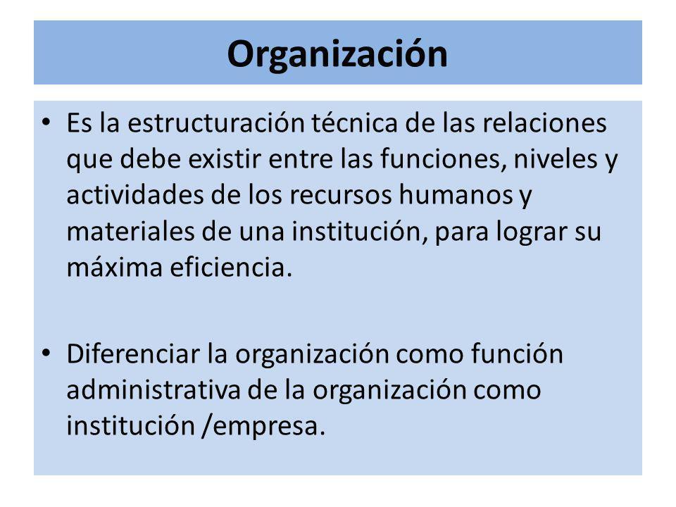 Organización Es la estructuración técnica de las relaciones que debe existir entre las funciones, niveles y actividades de los recursos humanos y materiales de una institución, para lograr su máxima eficiencia.