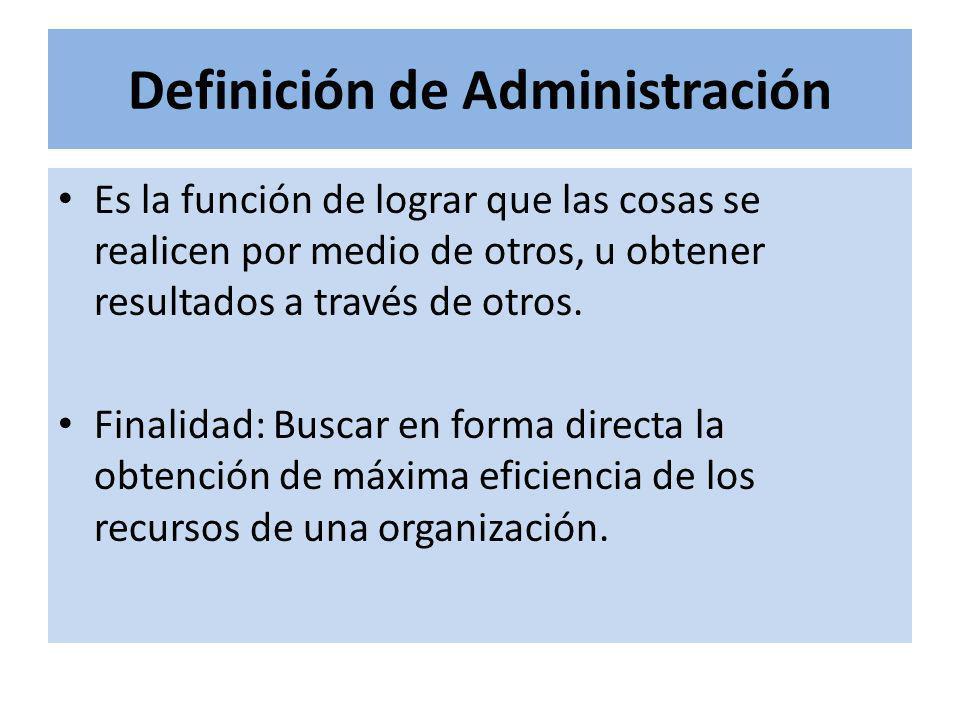 Definición de Administración Es la función de lograr que las cosas se realicen por medio de otros, u obtener resultados a través de otros. Finalidad: