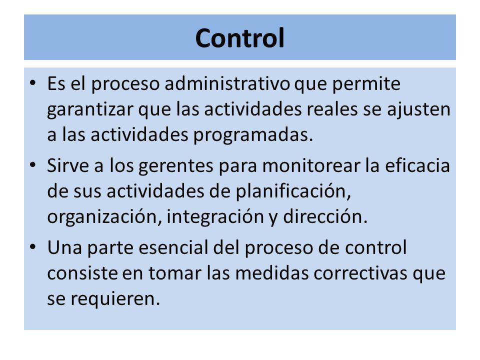 Control Es el proceso administrativo que permite garantizar que las actividades reales se ajusten a las actividades programadas. Sirve a los gerentes