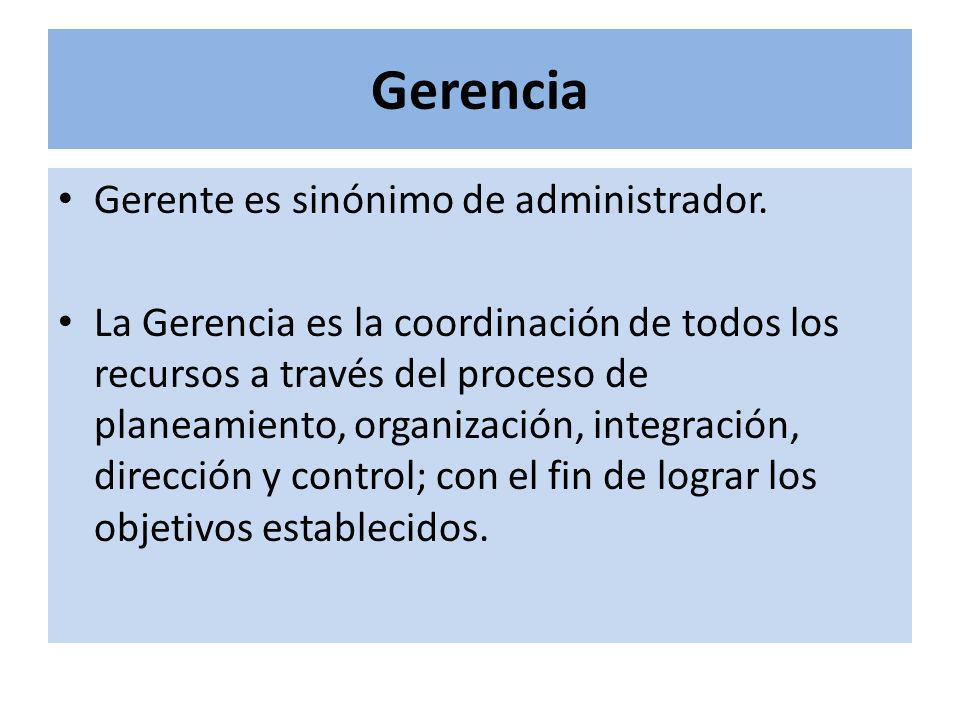 Gerencia Gerente es sinónimo de administrador. La Gerencia es la coordinación de todos los recursos a través del proceso de planeamiento, organización
