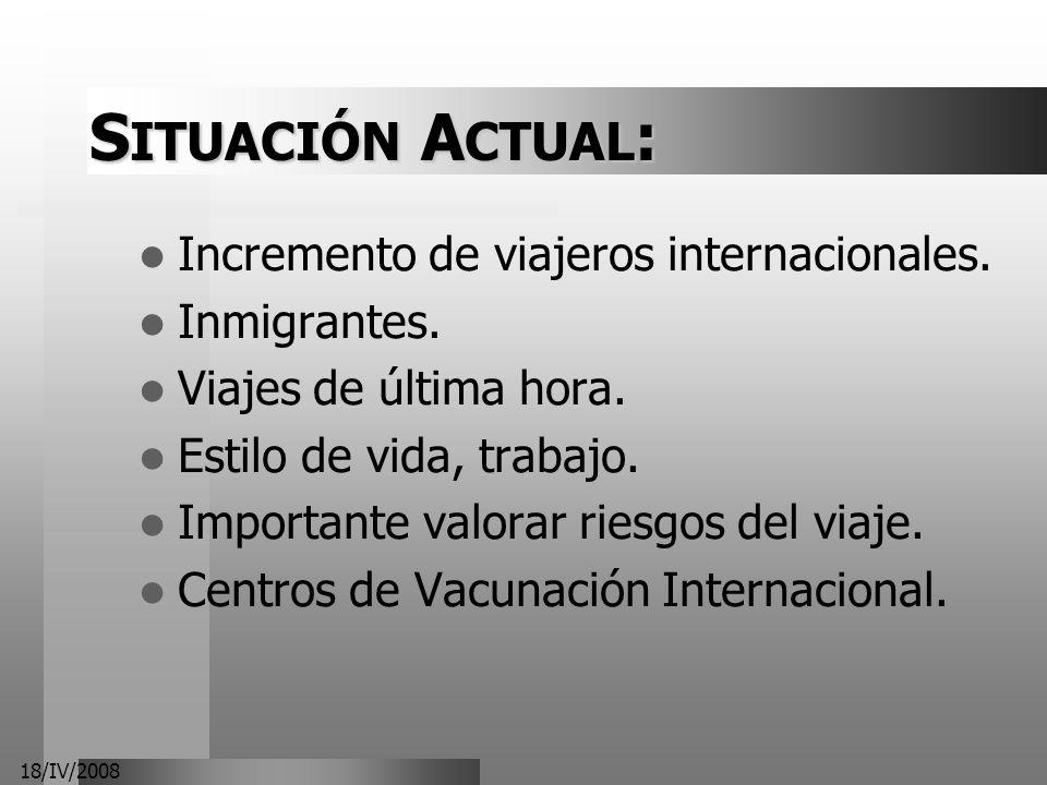18/IV/2008 S ITUACIÓN A CTUAL : Incremento de viajeros internacionales. Inmigrantes. Viajes de última hora. Estilo de vida, trabajo. Importante valora