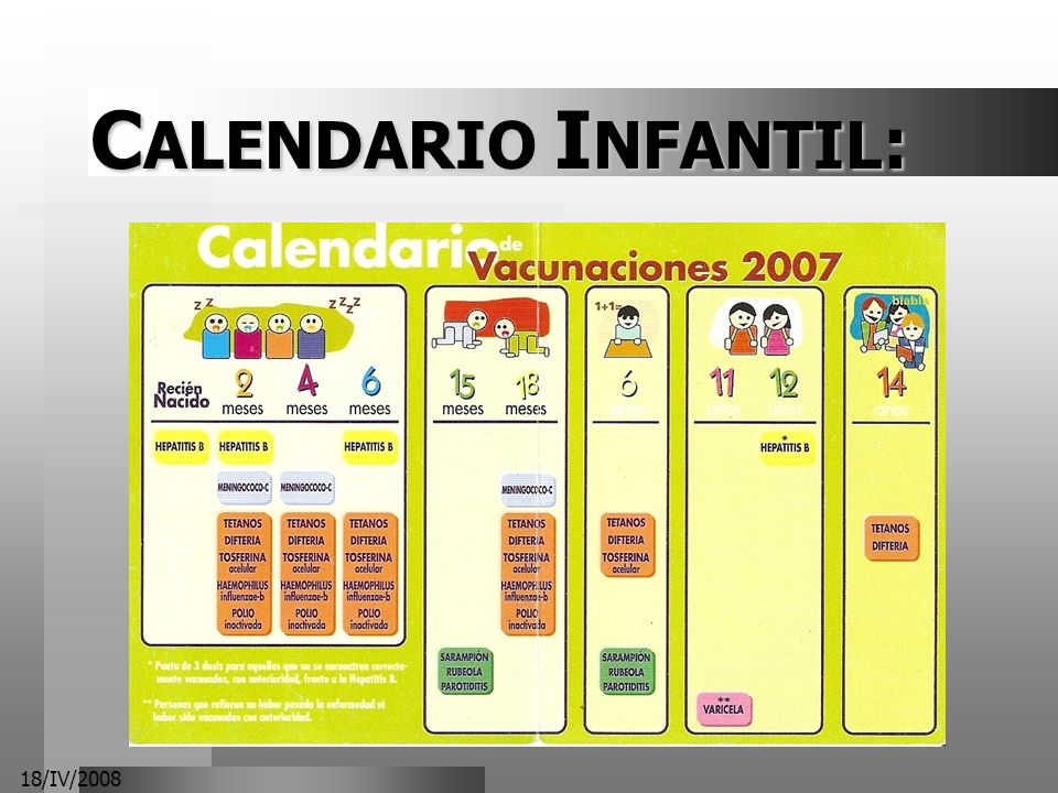 18/IV/2008 C ALENDARIO I NFANTIL :