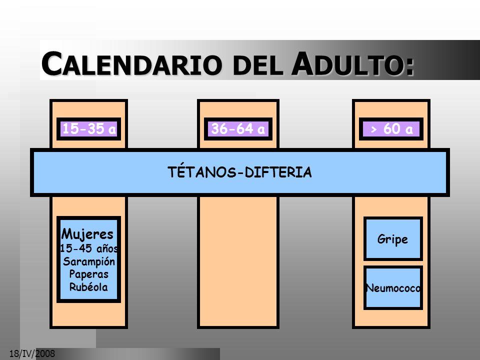 18/IV/2008 C ALENDARIO DEL A DULTO : 15-35 a Mujeres 15-45 años Sarampión Paperas Rubéola 36-64 a> 60 a Gripe Neumococo TÉTANOS-DIFTERIA