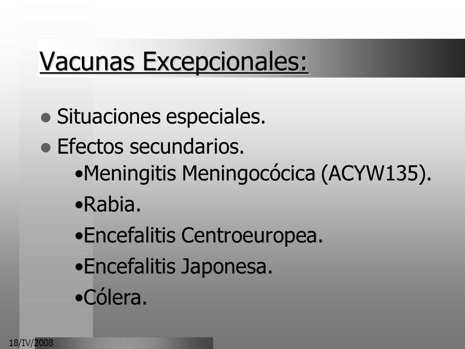 18/IV/2008 Vacunas Excepcionales: Situaciones especiales. Efectos secundarios. Meningitis Meningocócica (ACYW135). Rabia. Encefalitis Centroeuropea. E