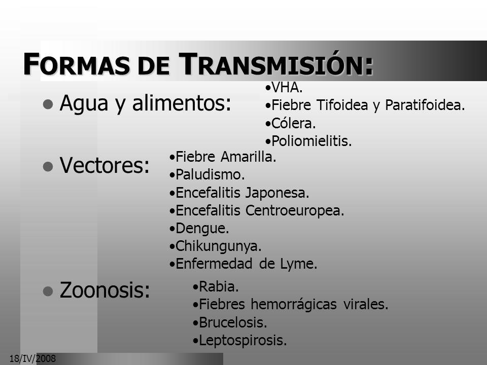 18/IV/2008 F ORMAS DE T RANSMISIÓN : Agua y alimentos: Vectores: Zoonosis: VHA. Fiebre Tifoidea y Paratifoidea. Cólera. Poliomielitis. Fiebre Amarilla