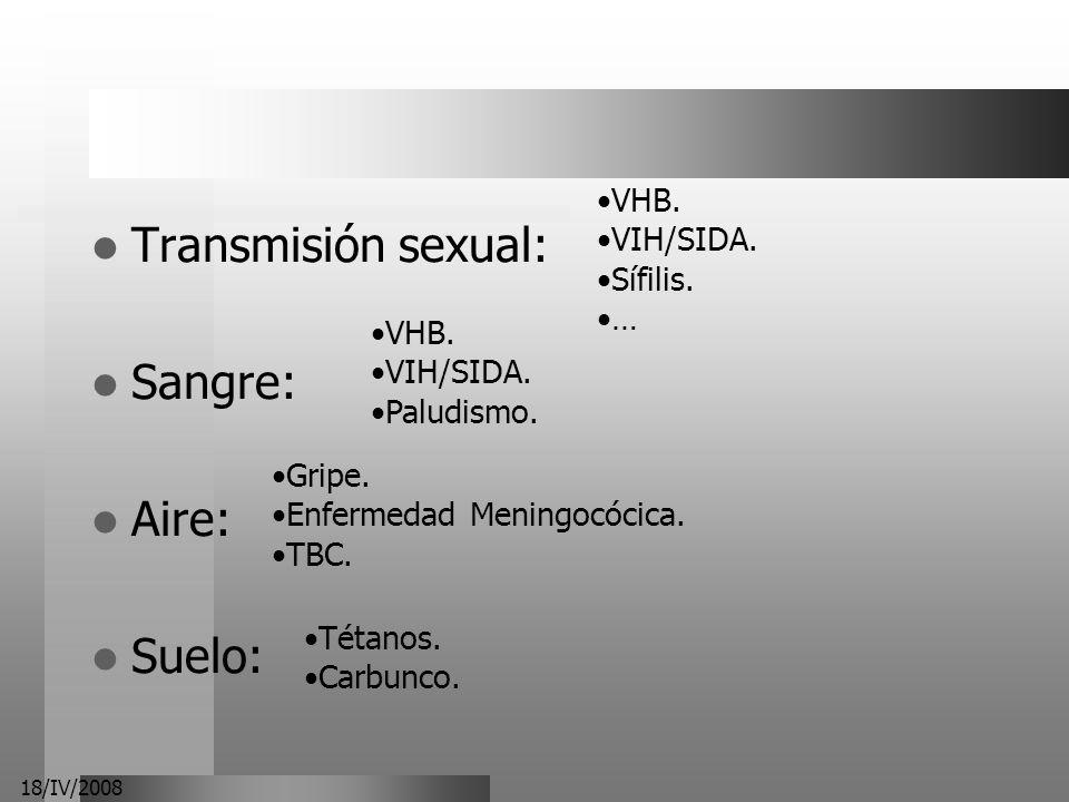 18/IV/2008 Transmisión sexual: Sangre: Aire: Suelo: VHB. VIH/SIDA. Sífilis. … VHB. VIH/SIDA. Paludismo. Gripe. Enfermedad Meningocócica. TBC. Tétanos.