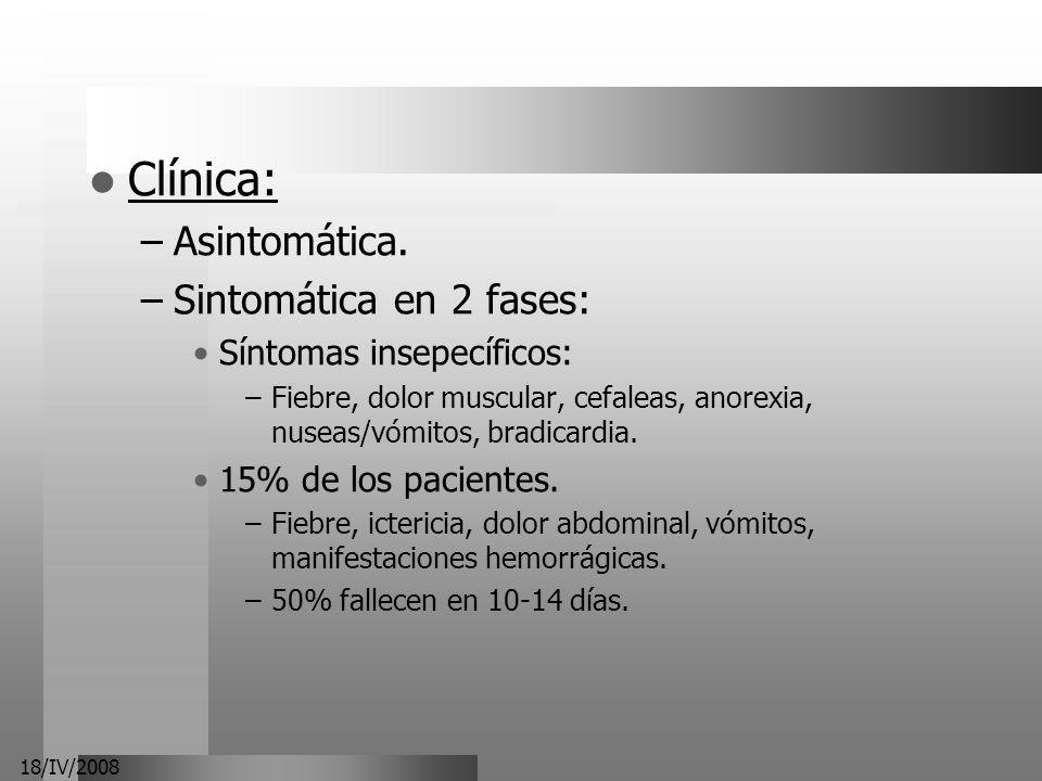 18/IV/2008 Clínica: –Asintomática. –Sintomática en 2 fases: Síntomas insepecíficos: –Fiebre, dolor muscular, cefaleas, anorexia, nuseas/vómitos, bradi