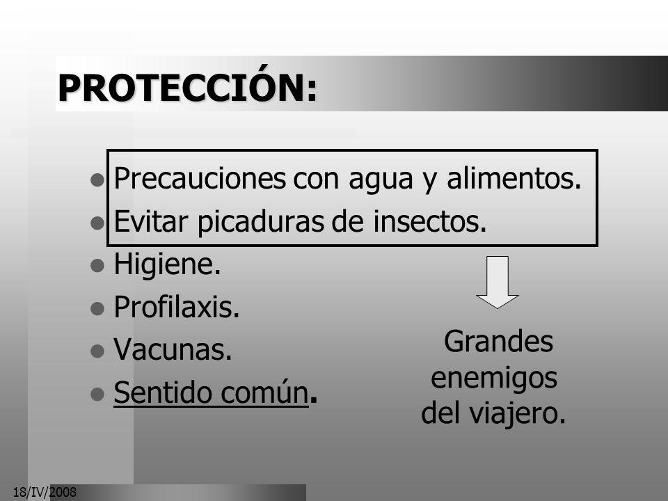 18/IV/2008 PROTECCIÓN: Precauciones con agua y alimentos. Evitar picaduras de insectos. Higiene. Profilaxis. Vacunas. Sentido común. Grandes enemigos