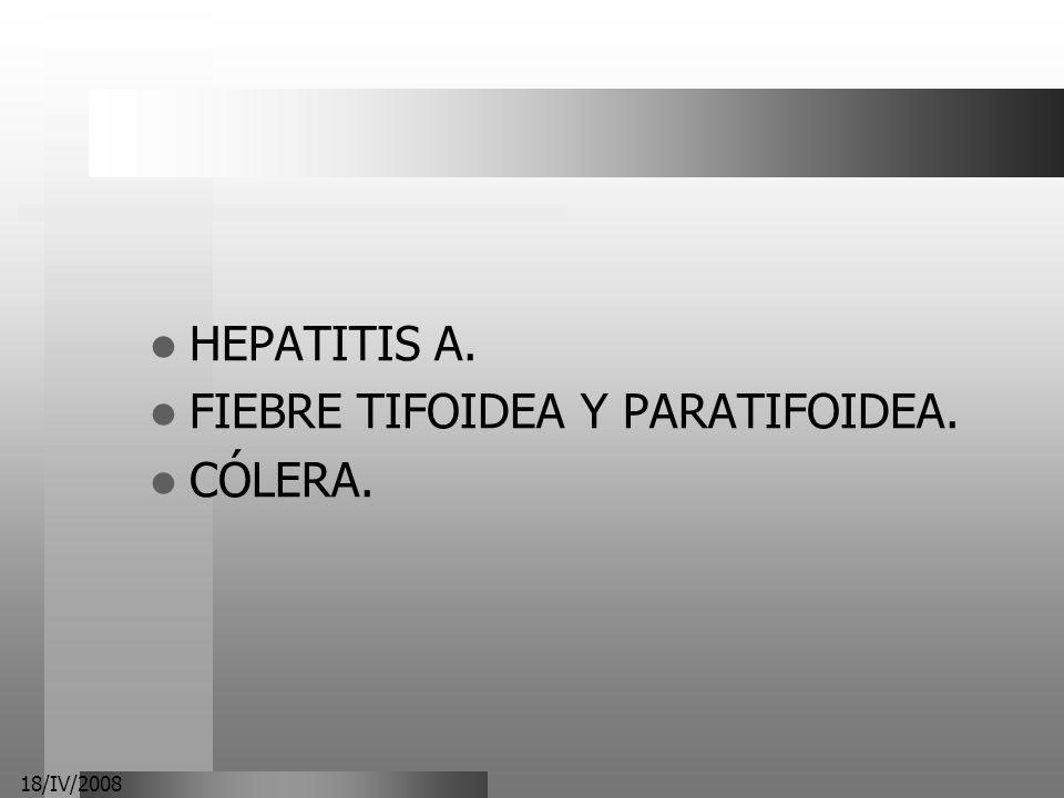 18/IV/2008 HEPATITIS A. FIEBRE TIFOIDEA Y PARATIFOIDEA. CÓLERA.