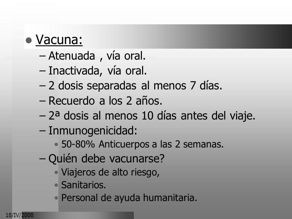 18/IV/2008 Vacuna: –Atenuada, vía oral. –Inactivada, vía oral. –2 dosis separadas al menos 7 días. –Recuerdo a los 2 años. –2ª dosis al menos 10 días