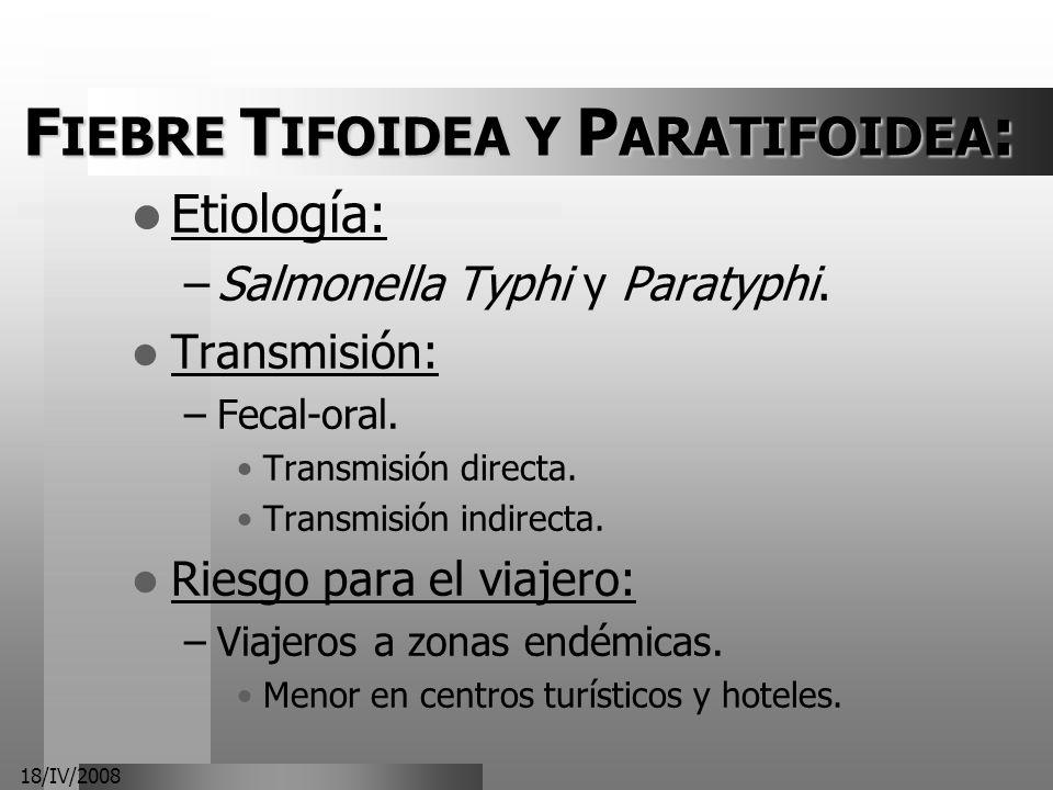 18/IV/2008 F IEBRE T IFOIDEA Y P ARATIFOIDEA : Etiología: –Salmonella Typhi y Paratyphi. Transmisión: –Fecal-oral. Transmisión directa. Transmisión in