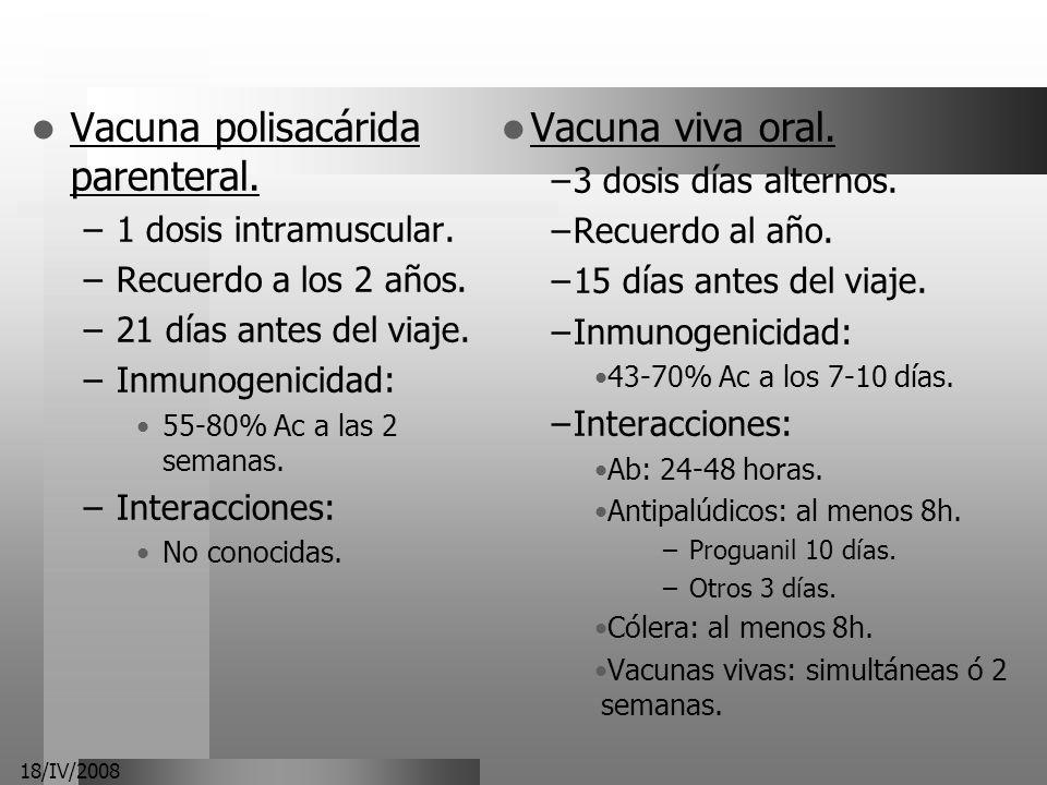 18/IV/2008 Vacuna viva oral. –3 dosis días alternos. –Recuerdo al año. –15 días antes del viaje. –Inmunogenicidad: 43-70% Ac a los 7-10 días. –Interac