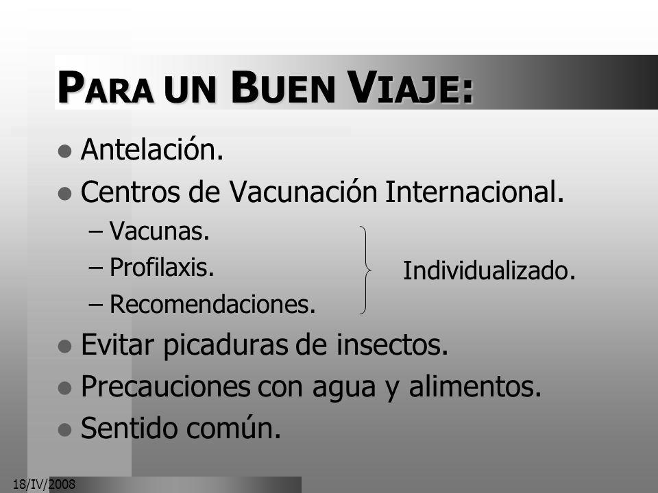 18/IV/2008 P ARA UN B UEN V IAJE : Antelación. Centros de Vacunación Internacional. –Vacunas. –Profilaxis. –Recomendaciones. Evitar picaduras de insec