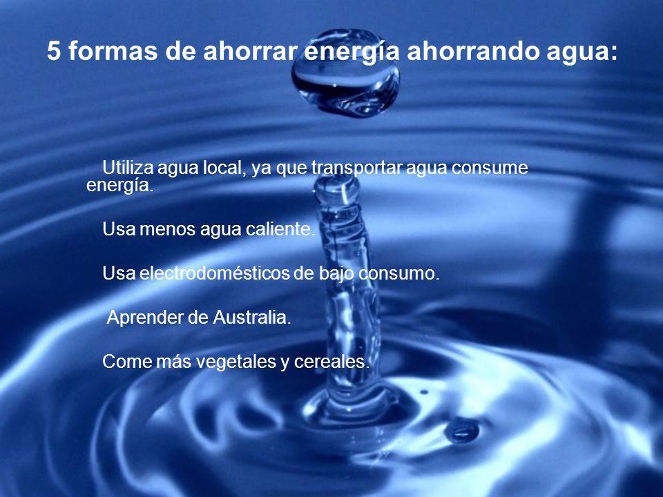 5 formas de ahorrar energía ahorrando agua: Utiliza agua local, ya que transportar agua consume energía. Usa menos agua caliente. Usa electrodoméstico