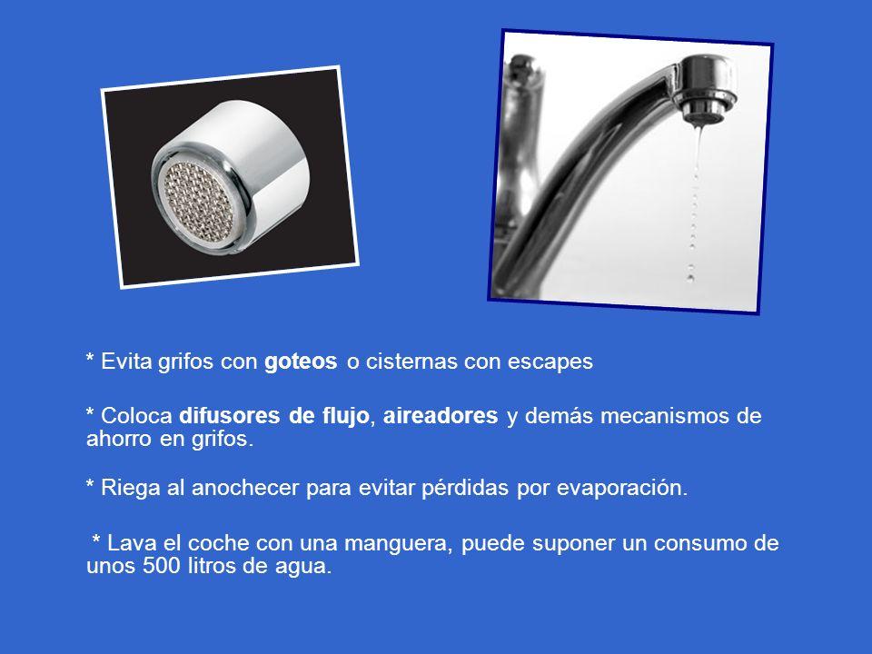 * Evita grifos con goteos o cisternas con escapes * Coloca difusores de flujo, aireadores y demás mecanismos de ahorro en grifos. * Riega al anochecer