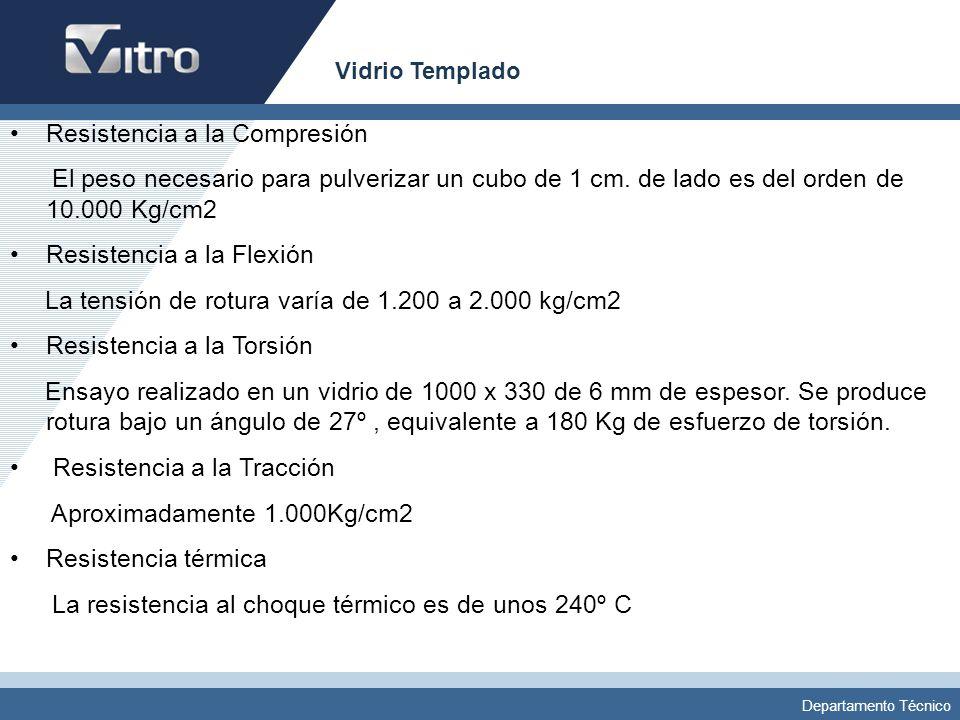 Departamento Técnico Vidrio Templado Resistencia a la Compresión El peso necesario para pulverizar un cubo de 1 cm. de lado es del orden de 10.000 Kg/
