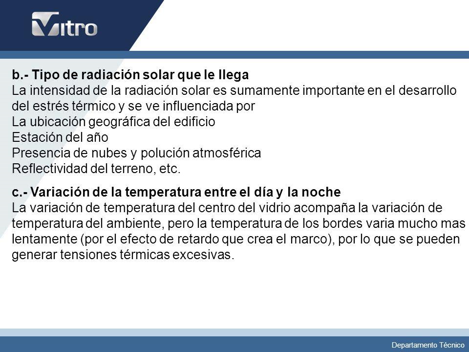 Departamento Técnico b.- Tipo de radiación solar que le llega La intensidad de la radiación solar es sumamente importante en el desarrollo del estrés