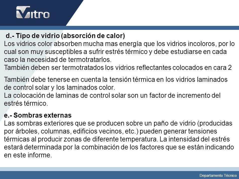 Departamento Técnico f.- Sombras internas Cortinas venecianas u otro tipo de sombras generadas en el interior del edificio, afectan la ventilación y libre circulación del aire en la cara interior del vidrio, además de poder reirradiar la radiación hacia el vidrio e incrementar su temperatura aumentando la posibilidad de estrés térmico.