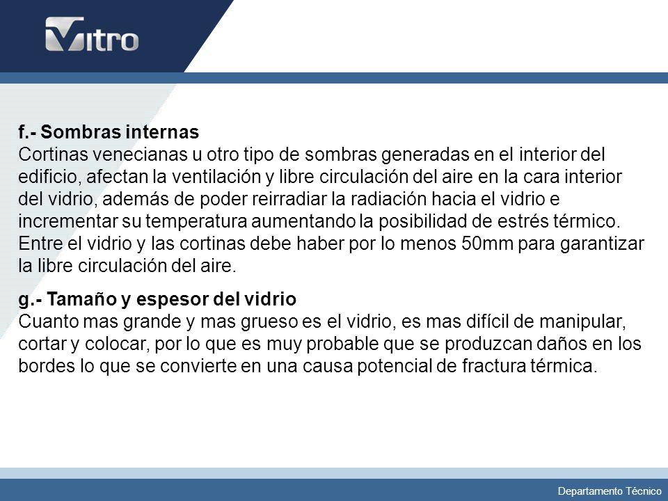 Departamento Técnico f.- Sombras internas Cortinas venecianas u otro tipo de sombras generadas en el interior del edificio, afectan la ventilación y l