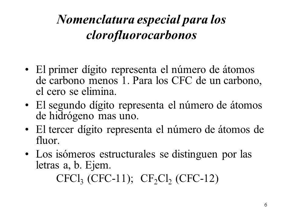 6 Nomenclatura especial para los clorofluorocarbonos El primer dígito representa el número de átomos de carbono menos 1. Para los CFC de un carbono, e