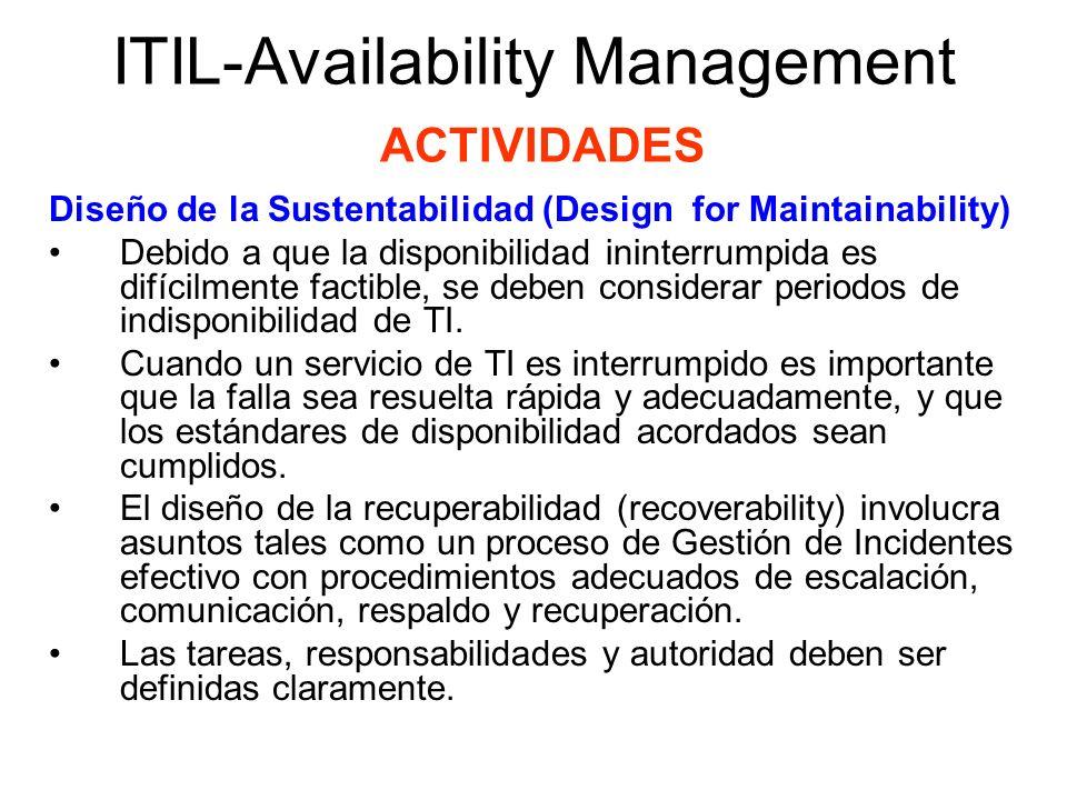 ITIL-Availability Management ACTIVIDADES Diseño de la Sustentabilidad (Design for Maintainability) Debido a que la disponibilidad ininterrumpida es di