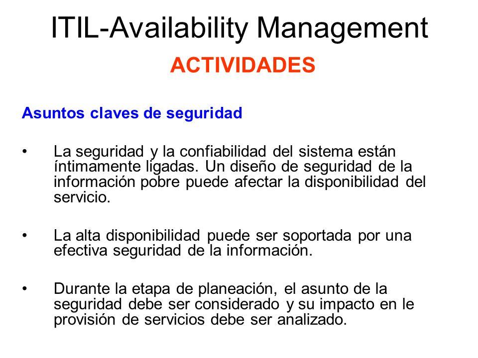 ITIL-Availability Management ACTIVIDADES Asuntos claves de seguridad Algunos de los asuntos a clave son: Determinar quién está autorizado para acceder a áreas seguras Determinar qué autorizaciones críticas deben ser expedidas