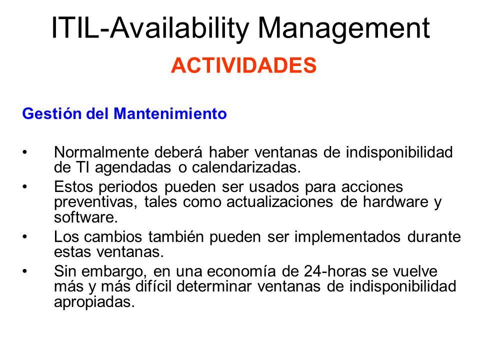 ITIL-Availability Management ACTIVIDADES Medición y Reporteo Proveen las bases para la verificación de SLAs, la resolución de problemas y la definición de propósitos para mejoramiento.