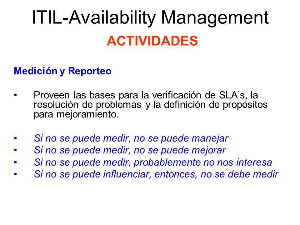 ITIL-Availability Management ACTIVIDADES Medición y Reporteo La medición y reporteo es una actividad importante del Availability Magement porque proporciona las bases para verificar los acuerdos de servicio, resolver problemas, y definir propuestas de mejora.