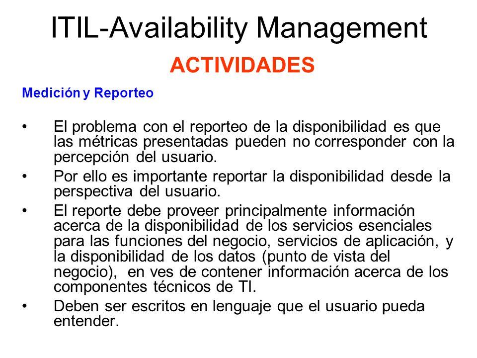 ITIL-Availability Management ACTIVIDADES Medición y Reporteo El problema con el reporteo de la disponibilidad es que las métricas presentadas pueden n
