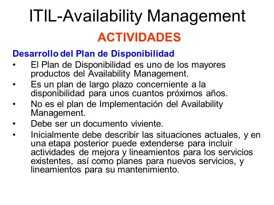ITIL-Availability Management ACTIVIDADES Desarrollo del Plan de Disponibilidad El Plan de Disponibilidad es uno de los mayores productos del Availabil