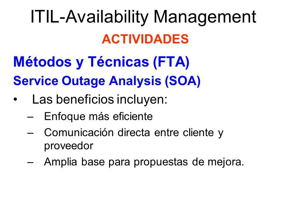 ITIL-Availability Management ACTIVIDADES Métodos y Técnicas (FTA) Service Outage Analysis (SOA) Las beneficios incluyen: –Enfoque más eficiente –Comun