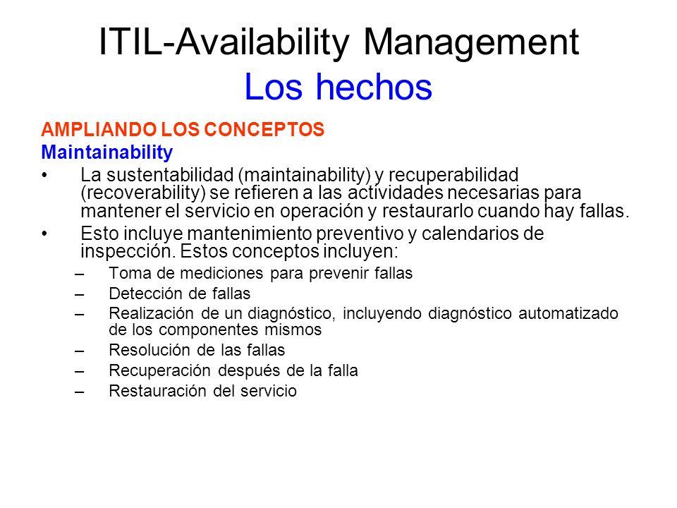 ITIL-Availability Management Los hechos AMPLIANDO LOS CONCEPTOS Serviceability La disponibilidad de servicio tiene que ver con las obligaciones contractuales de proveedores de servicio externos (contratistas, terceros, etc.) Los contratos definen el soporte que será proporcionado por los servicios dados a outsourcing.