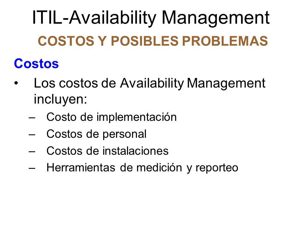 ITIL-Availability Management COSTOS Y POSIBLES PROBLEMAS Costos La discusión de costos y beneficios puede ser guiada preguntándose cuál será el costo si ignoráramos completamente el Availability Management y llegáramos a una situación donde los requerimientos de disponibilidad alcanzados no cumplieran con los requerimientos de disponibilidad acordados.