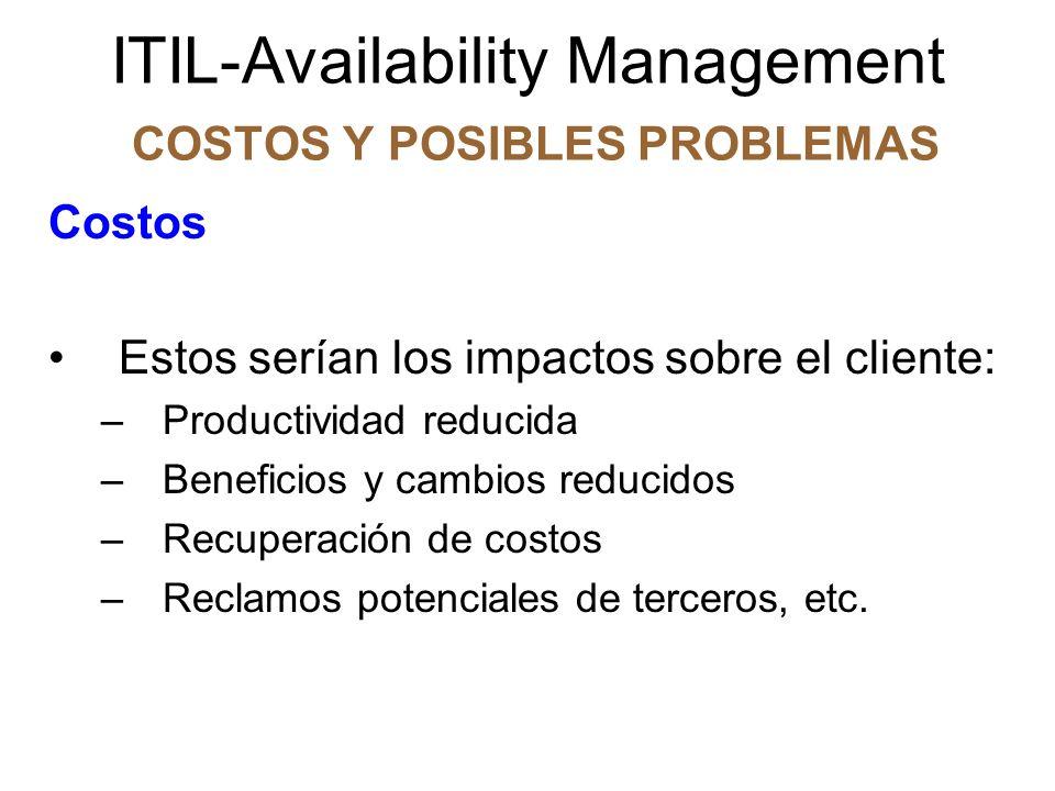 ITIL-Availability Management COSTOS Y POSIBLES PROBLEMAS Costos Estos serían los impactos sobre el cliente: –Productividad reducida –Beneficios y camb