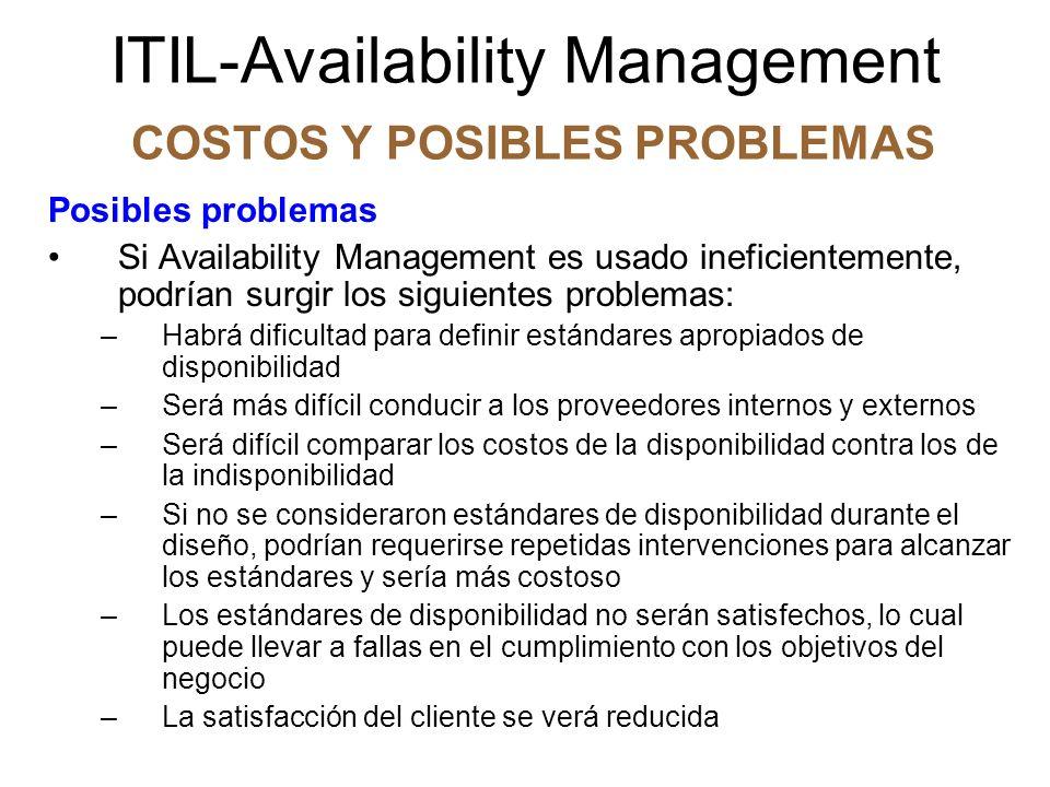 ITIL-Availability Management CONTROL DEL PROCESO Factores críticos del éxito e indicadores de desempeño El negocio debe tener claramente definidos los objetivos y deseos de disponibilidad.