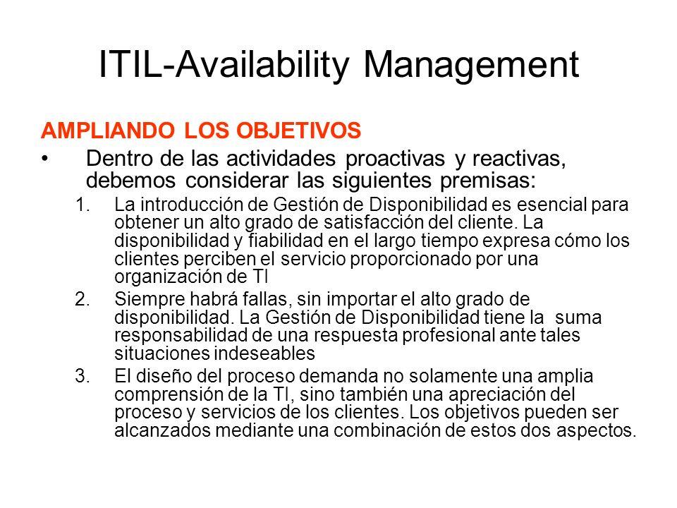 ITIL-Availability Management AMPLIANDO LOS OBJETIVOS Dentro de las actividades proactivas y reactivas, debemos considerar las siguientes premisas: 1.L