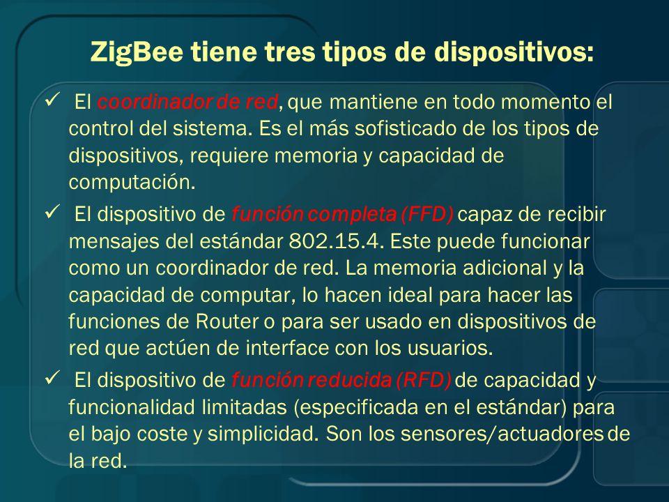 ZigBee tiene tres tipos de dispositivos: El coordinador de red, que mantiene en todo momento el control del sistema. Es el más sofisticado de los tipo