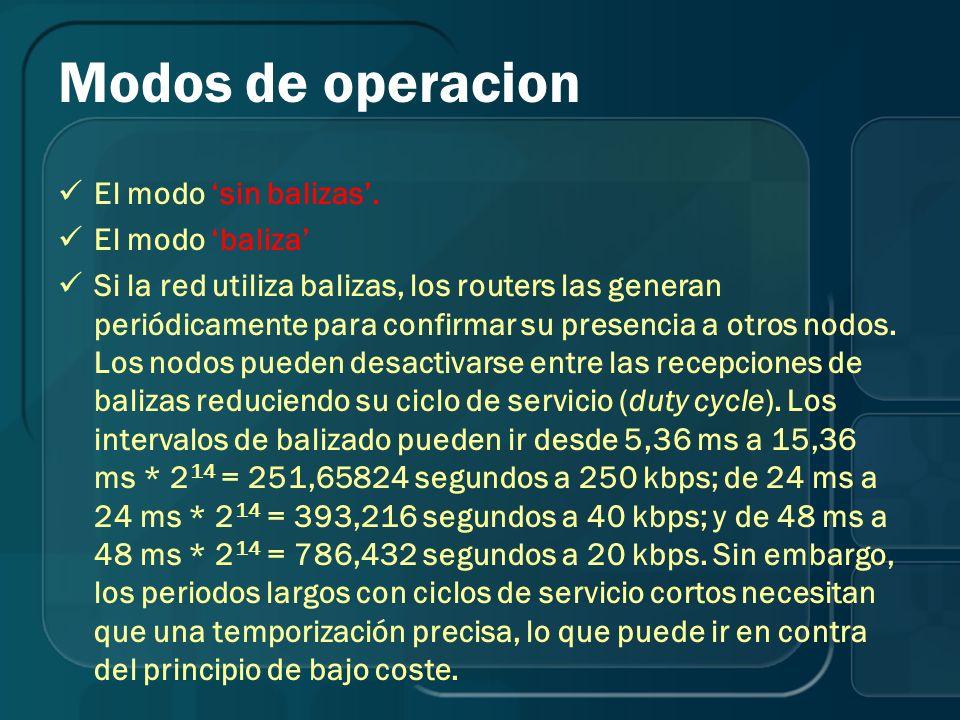 Modos de operacion El modo sin balizas. El modo baliza Si la red utiliza balizas, los routers las generan periódicamente para confirmar su presencia a