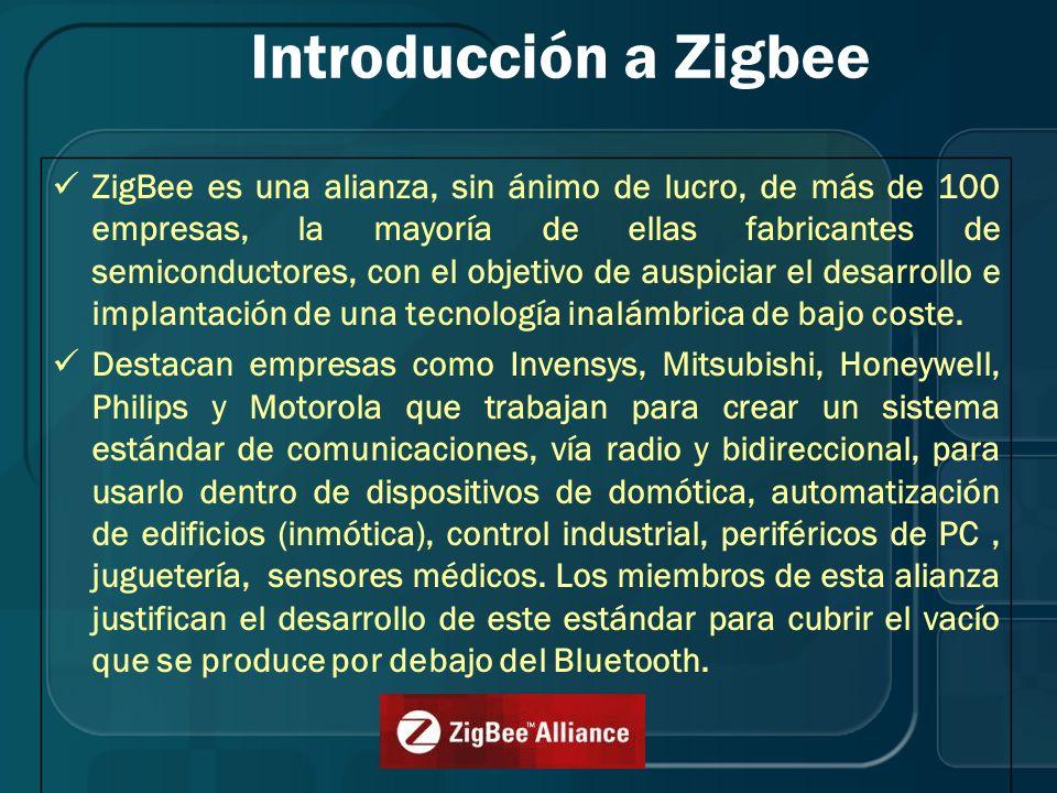 Introducción a Zigbee ZigBee es una alianza, sin ánimo de lucro, de más de 100 empresas, la mayoría de ellas fabricantes de semiconductores, con el ob