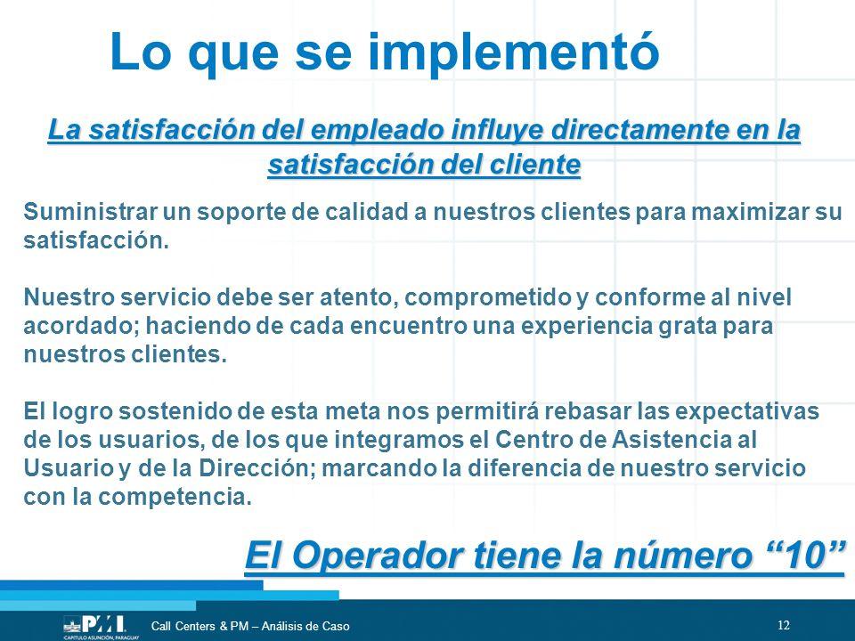 12 Call Centers & PM – Análisis de Caso Lo que se implementó La satisfacción del empleado influye directamente en la satisfacción del cliente El Opera