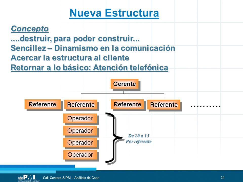 14 Call Centers & PM – Análisis de Caso Nueva Estructura GerenteGerente Concepto....destruir, para poder construir... Sencillez – Dinamismo en la comu