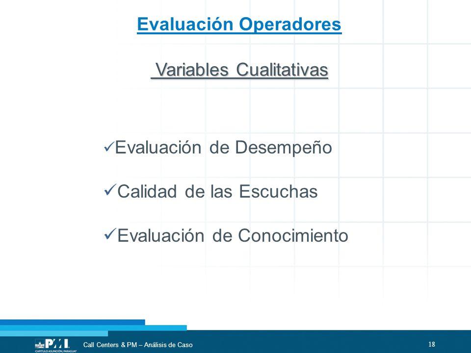 18 Call Centers & PM – Análisis de Caso Evaluación Operadores Evaluación de Desempeño Calidad de las Escuchas Evaluación de Conocimiento Variables Cua