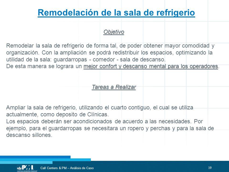 19 Call Centers & PM – Análisis de Caso Remodelación de la sala de refrigerio Objetivo Remodelar la sala de refrigerio de forma tal, de poder obtener
