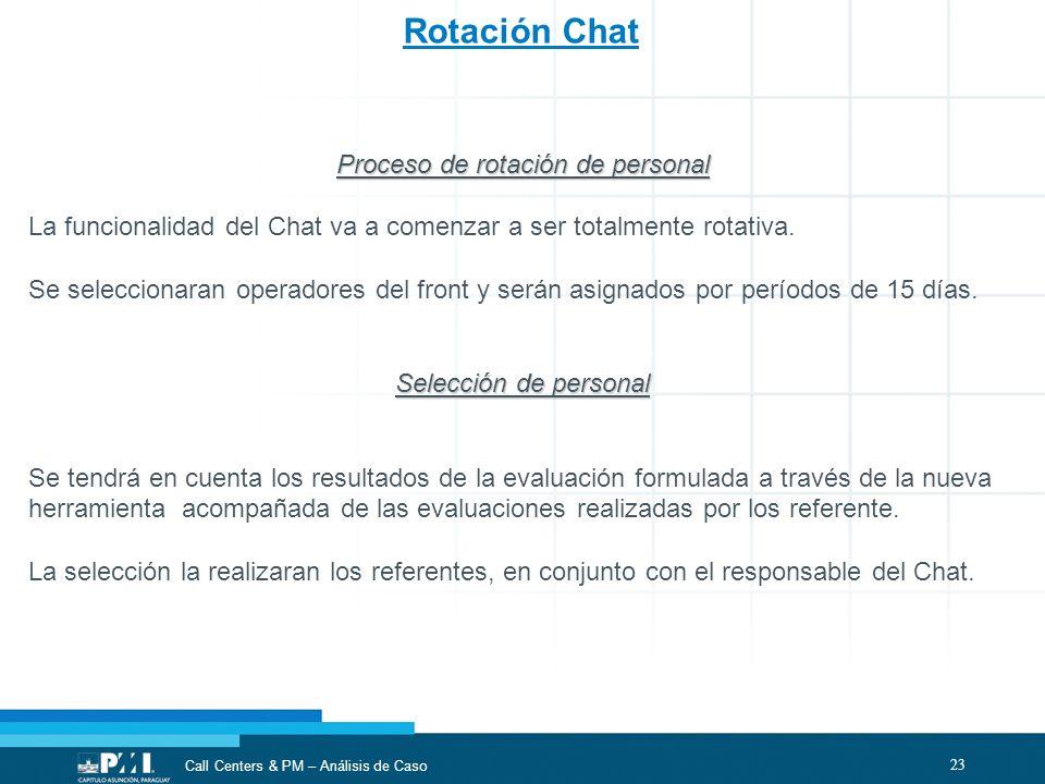 23 Call Centers & PM – Análisis de Caso Rotación Chat Proceso de rotación de personal La funcionalidad del Chat va a comenzar a ser totalmente rotativ
