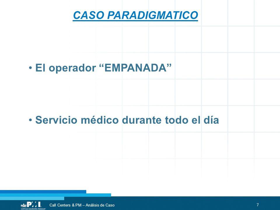 7 Call Centers & PM – Análisis de Caso CASO PARADIGMATICO El operador EMPANADA Servicio médico durante todo el día
